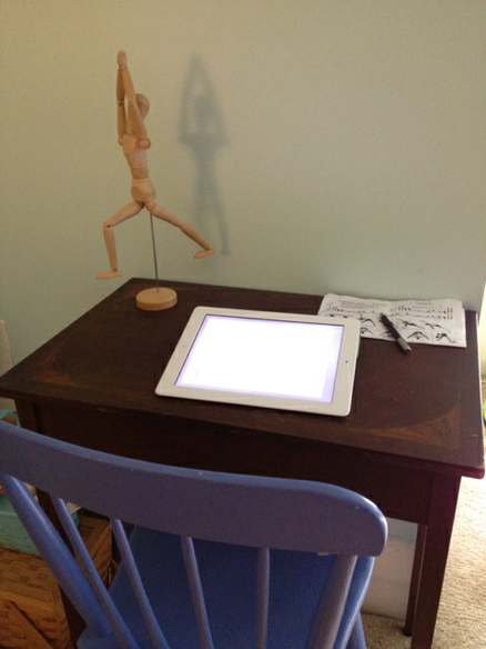 art for the joy of it sketching desk with mannequin yoga pose